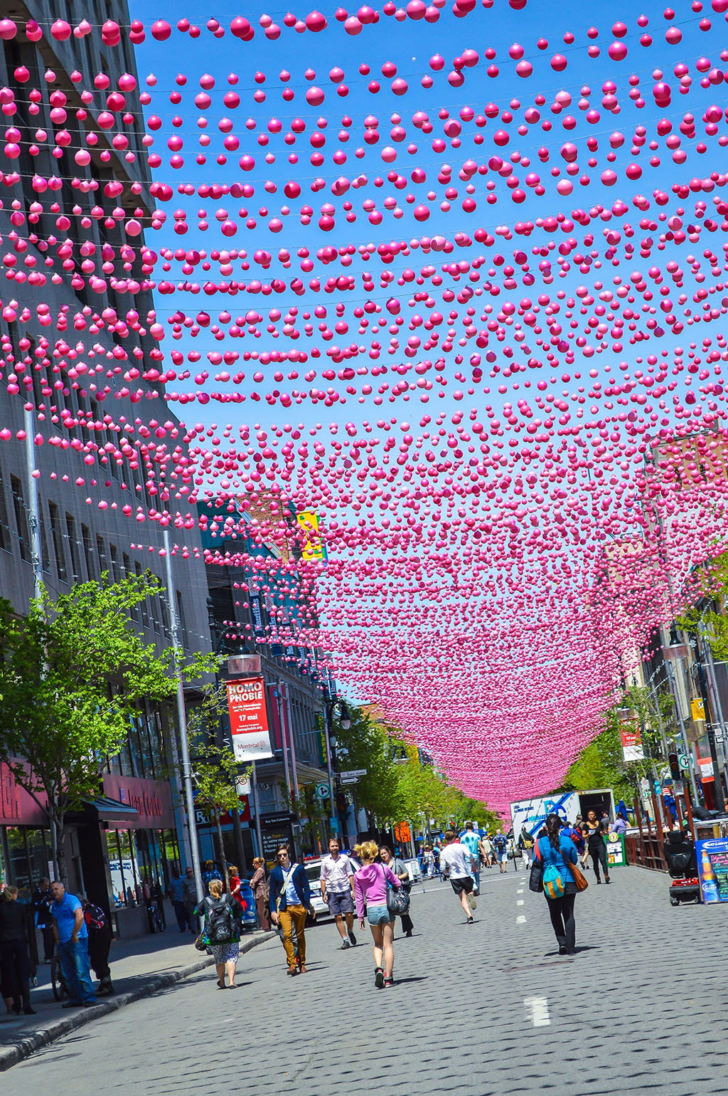 The vibrant Saint Catherine Street is closed to automobiles from May to September. Photo by Chris Bruntlett