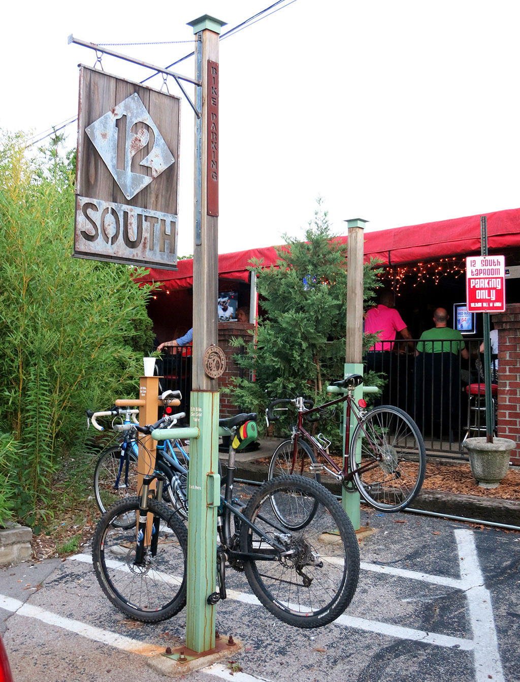Bicycle parking outside the 12South Taproom in the heart of Nashville's 12South neighborhood. Photo by Trisha Ping