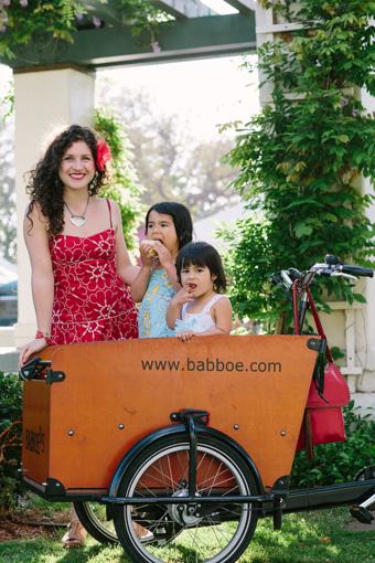 Shelby Sanchez Rides a Cargo Bike with her Children