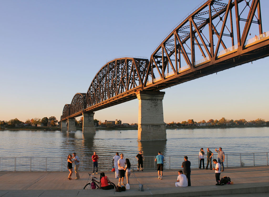 Salsa dancing at sunset in Louisville's popular Waterfront Park.