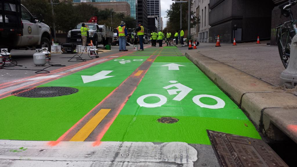 Houston is Building their First On-Street Protected Bike Lane
