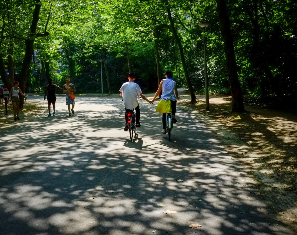 Riding around Vondelpark in Amsterdam holding hands is an activity for both young and old. Photo by David Niddrie