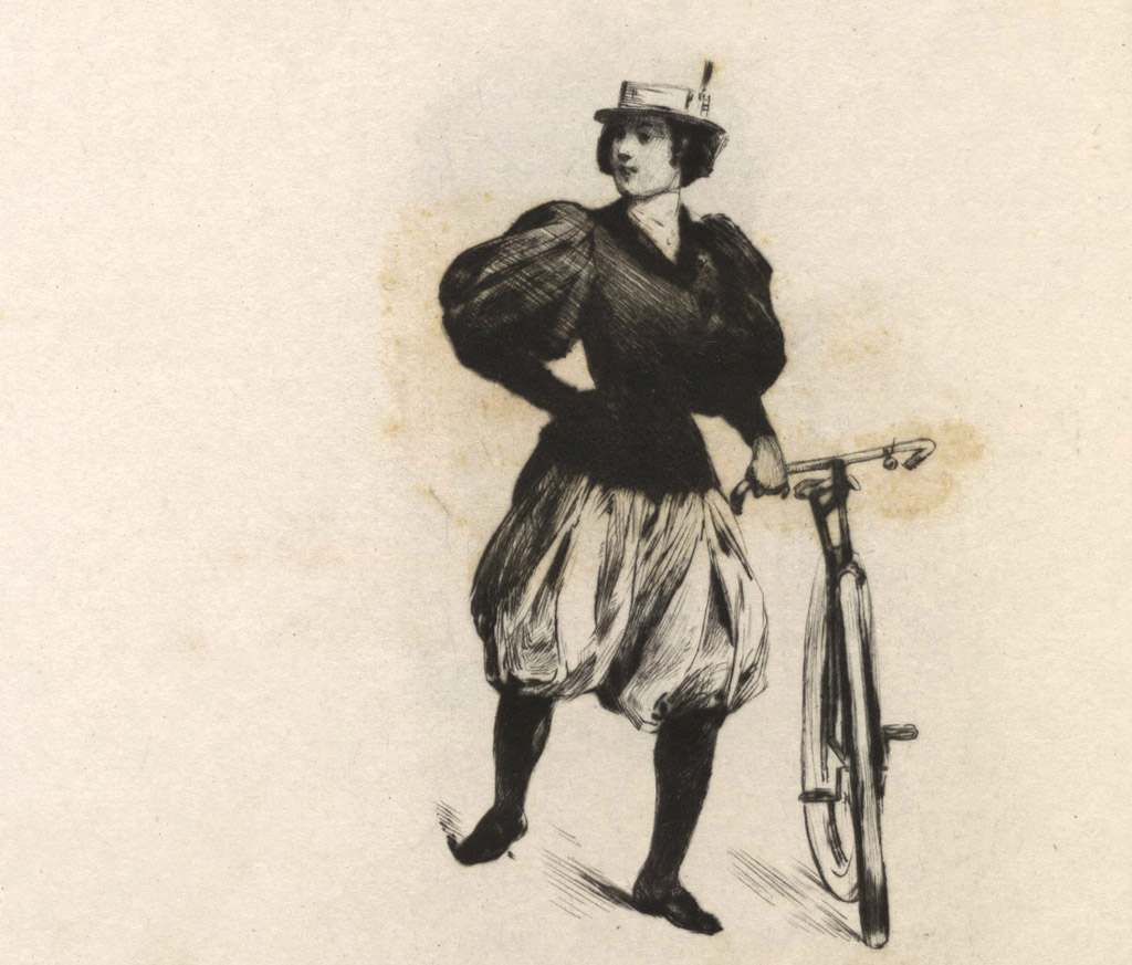 """La bicycliste et caricature, 1897"" by Montorgueil, Georges, 1857-1933 (creator)Somm, Henry, 1844-1907 (illustrator) - This image is available from the Brown University Library under the digital ID 1123259547400435.. Licensed under Public Domain via Wikimedia Commons."
