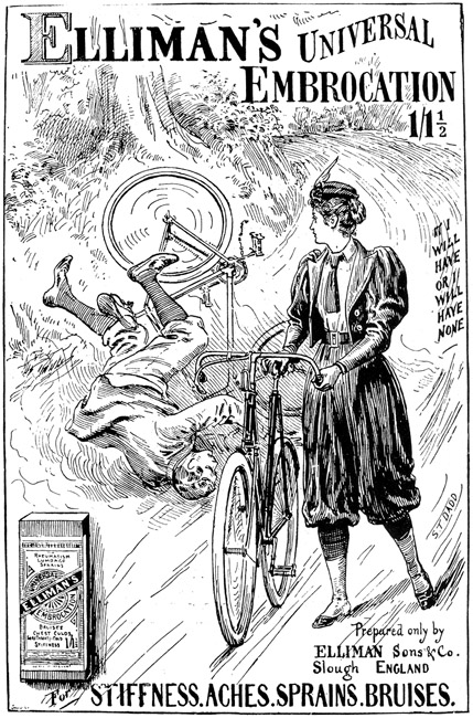 "An 1897 ad featuring a woman in bloomers. ""Ellimans-Universal-Embrocation-Slough-1897-Ad"". Licensed under Public Domain via Wikimedia Commons."