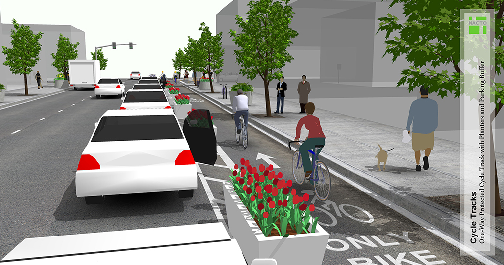 One-Way Protected Cycle Track NACTO Urban Bikeway Design Guide. Courtesy of NACTO.