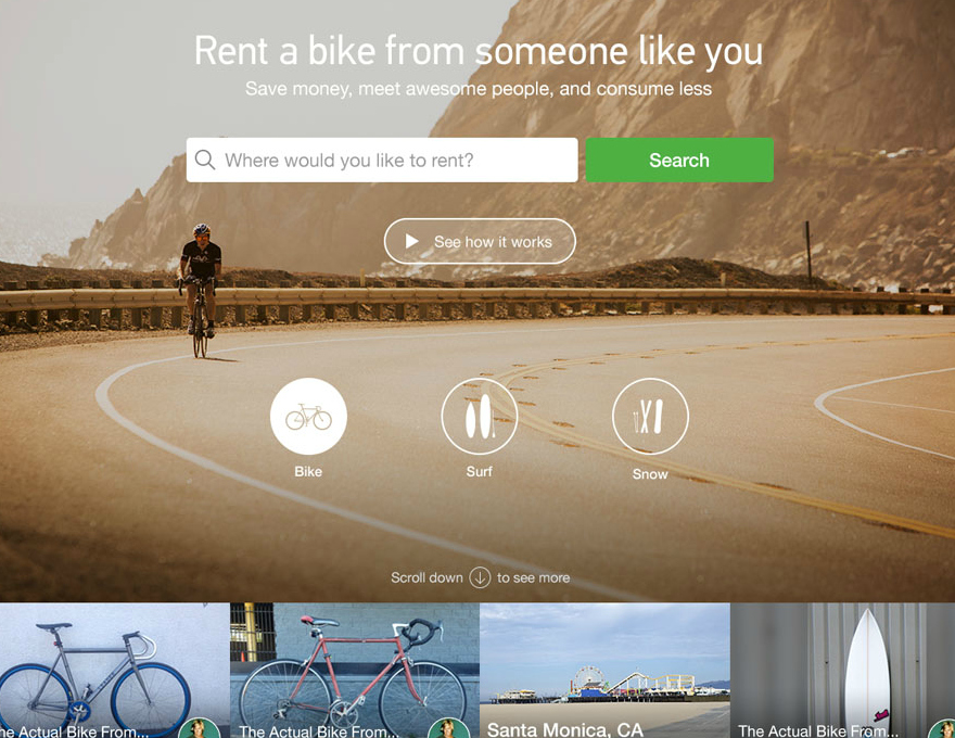 Spinlister is a Peer-to-Peer Bicycle Sharing Platform