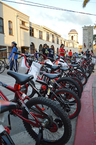 The kids' bikes from the Brownsville Bikes for Tykes program during CycloBia. Photo by Fernando Martinez.
