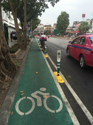 Bangkok bike lanes. Cycle tracks Bangkok.