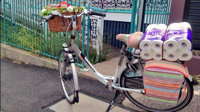 Thea Baker's bike loaded up from a quaxing trip. @Taezar