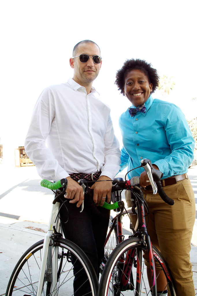 Writer and Producer Tom Smuts with Tamika Butler, Executive Director of Los Angeles County Bicycle Coalition. Photo by Mick Victor