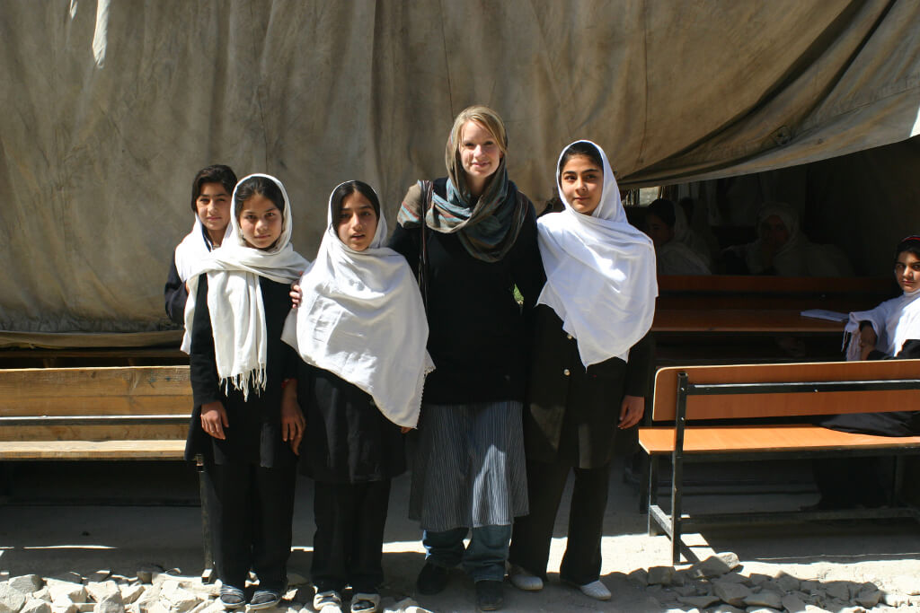 Shannon Galpin with Afghan students at Kabul girls school