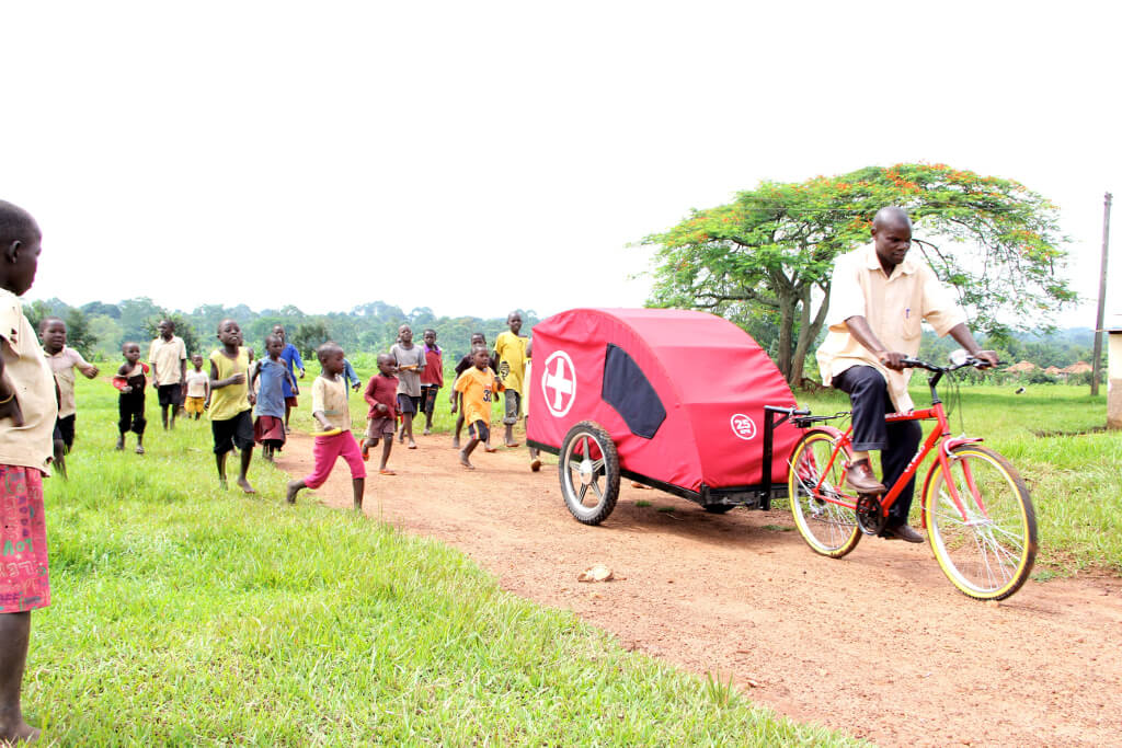Zambikes PArtnered with Plan UGanda to distribute over 50 Zambulances through Uganda