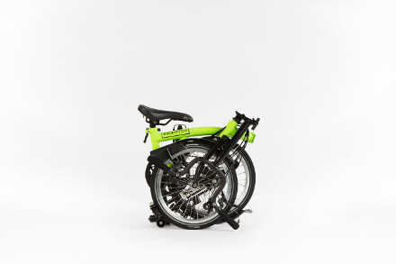 Brompton Black edition in Lime Green, Bike folded