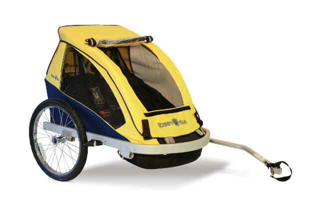 Croozer Kiddy Van Double Kids Trailer, Yellow Croozer Trailer