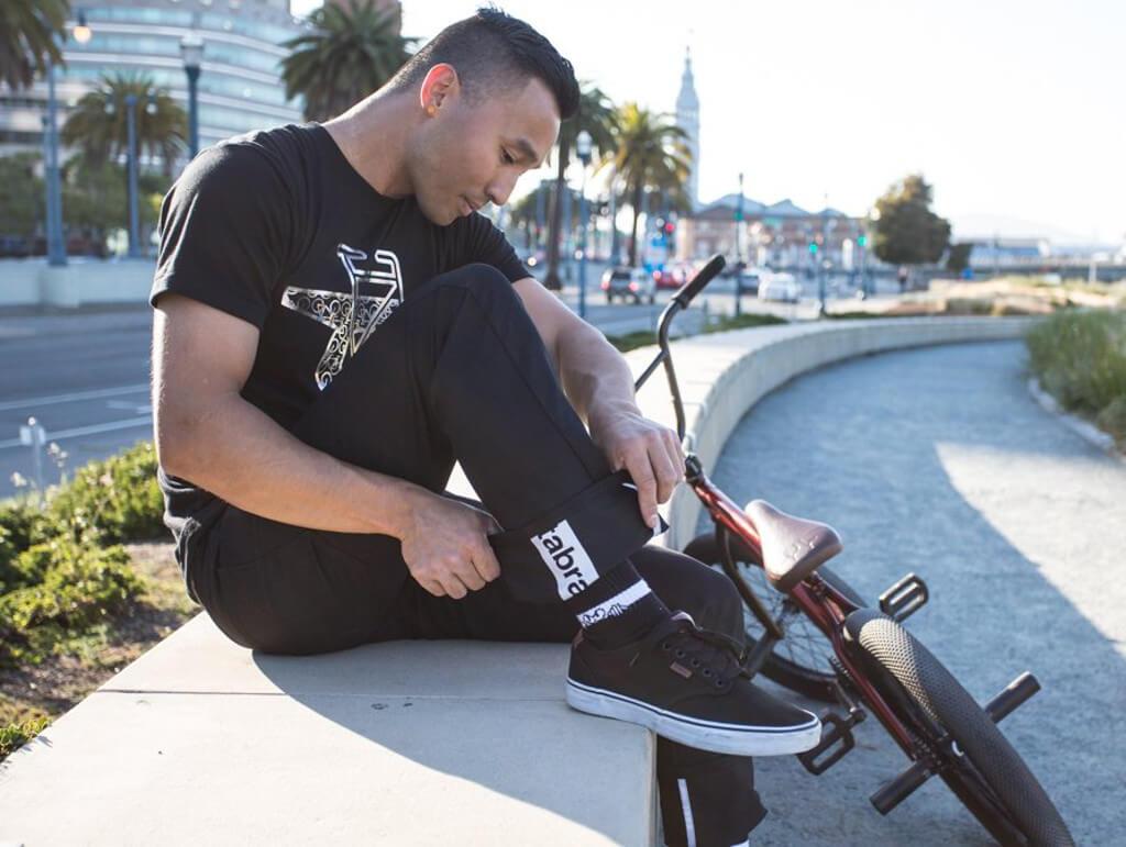 Men's Black Bike to Work Britches, Man wearing jeans