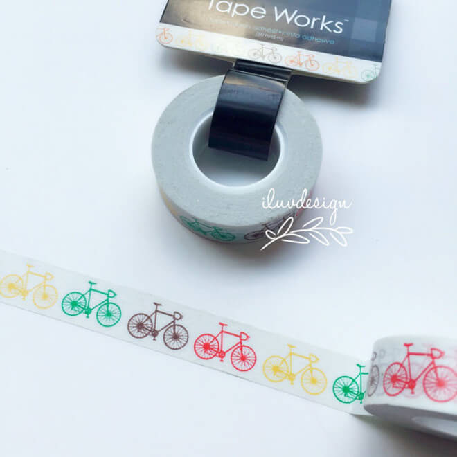 Washi tape with multi color bike pattern