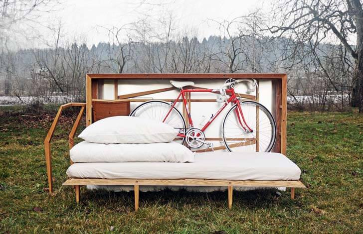 "A Portable ""Pop-up Hotel Room"" That Comes with a Bicycle"