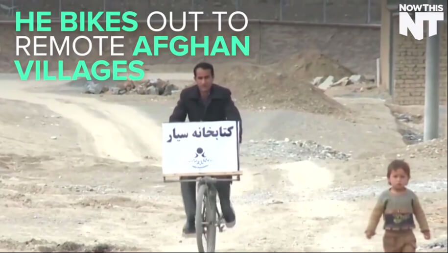 An Afghan Teacher Bikes Books to Children Who Can't Go To School