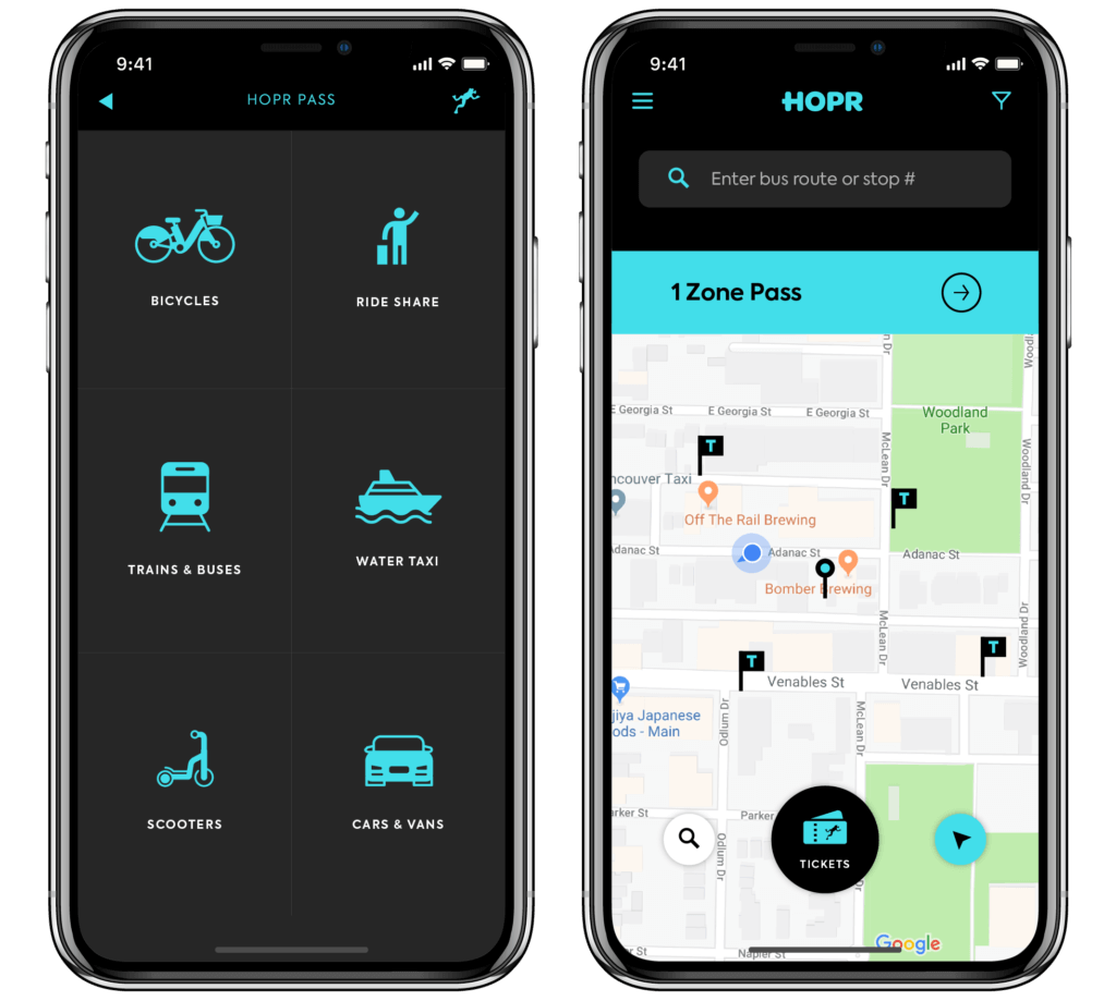 Hopr Mobility App Bike share Ride share Car share Public Transit